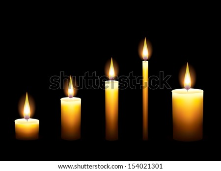 Candles on dark background photo realistic vector illustration