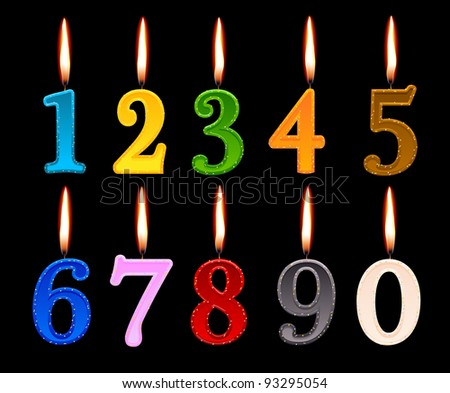 candles shape of numbers to decorate the birthday cake - stock vector