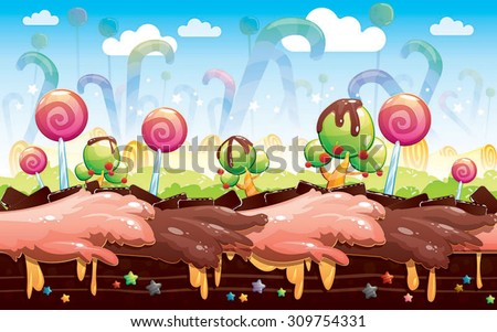 Candy and cake game background - stock vector