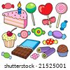 Candy and cakes collection - vector illustration. - stock vector