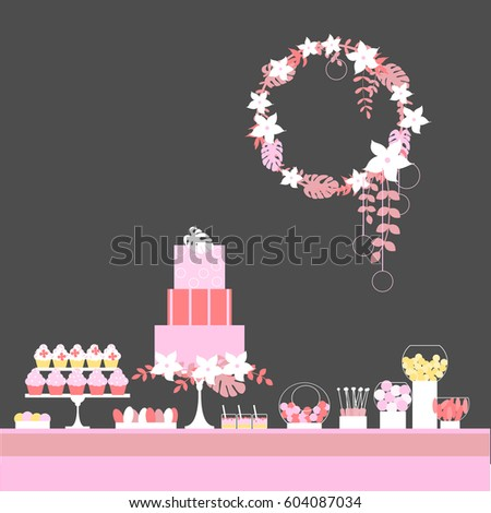 Candy buffet cake flowers wedding dessert stock vector royalty free candy buffet with cake and flowers wedding dessert bar birthday sweet table vector watchthetrailerfo
