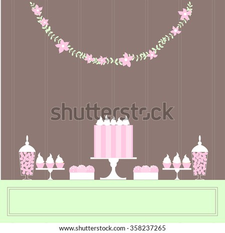 Candy Buffet with cake. Wedding dessert bar. Birthday sweet table. Vector illustration.