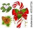 Candy cane, christmas tree, mistletoe and holly - stock vector