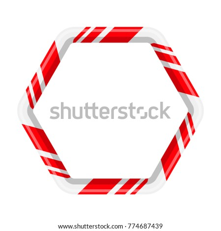 Candy cane hexagon for christmas design isolated on white background