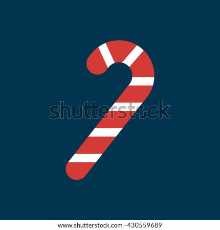 Candy cane icon. Christmas peppermint candy cane with stripes flat icon - stock vector