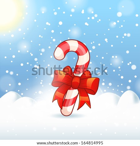 candy cane on Merry Christmas Landscape snow - stock vector