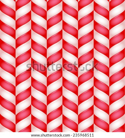 Candy cane realistic vector nice sweet seamless pattern - stock vector