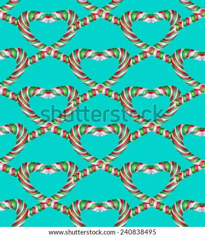 Candy cane style heart seamless pattern on blue-green vector background. Can be used for wallpaper, pattern fills, web page background and surface textures.  - stock vector