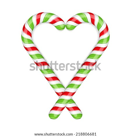 Candy canes heart on white background, vector eps10 illustration - stock vector