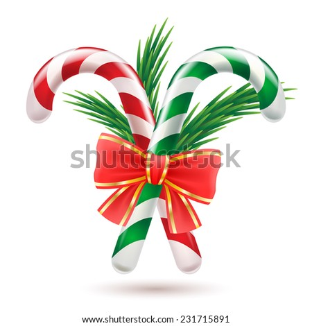 Candy canes with christmas tree branches and red bow. Christmas sweet treat. Holiday design. - stock vector
