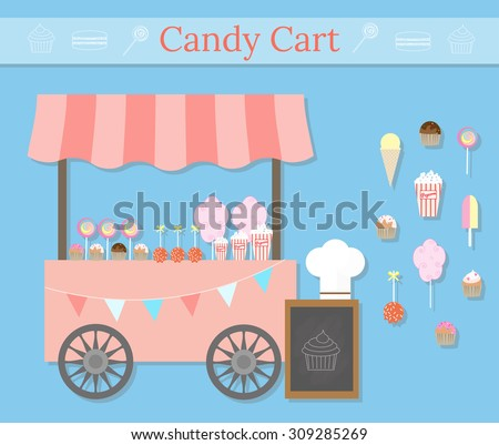 Candy cart with street desserts. Different desserts icons in flat style. Sweet shop local store. Cotton candy/candy floss, lollipops, muffins, cupcakes, popcorn, ice cream, caramel apples. - stock vector