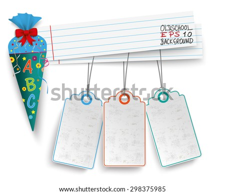 Candy cone with school paper banners and 3 price stickers.  Eps 10 vector file. - stock vector