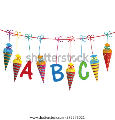 Candy cones with ABC letters on the white background. Eps 10 vector file. - stock vector