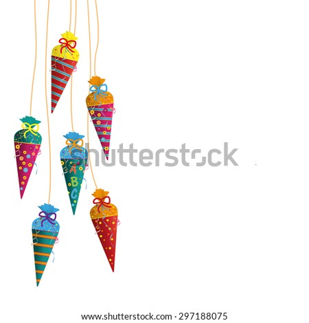 Candy cones with ABC on the gray background. Eps 10 vector file. - stock vector
