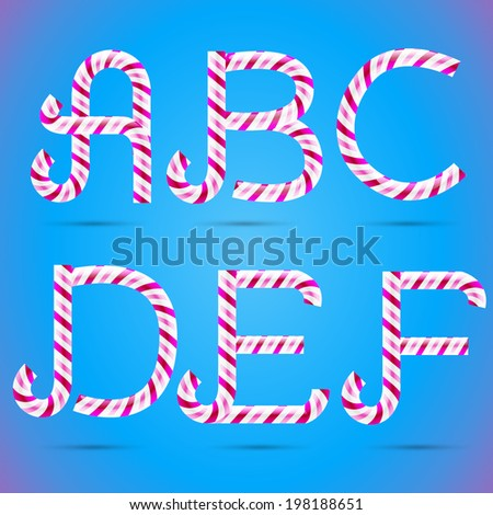 Candy 3D alphabet. Candy letters. Sweet letters. Vector candy alphabet. Alphabet letters. Candy font. Typography. A letter. B letter. C letter. D letter. E letter. F letter. - stock vector