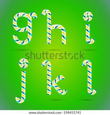 Candy 3D alphabet. Candy letters. Sweet letters. Vector candy alphabet. Alphabet letters. Candy font. Typography. G letter. H letter. I letter. J letter. K letter. L letter. - stock vector