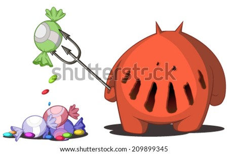 Candy devil cartoon, vector, horizontal, over white,  isolated  - stock vector