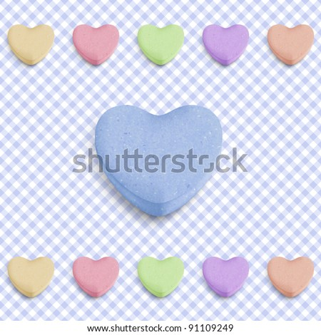 Candy heart background for new boy born announcement