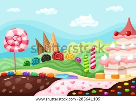 candy landscape - stock vector