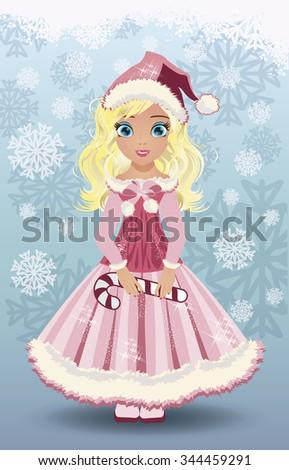 Candy little  santa claus girl, vector illustration - stock vector