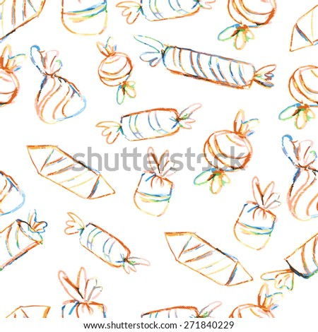 Candy pattern, hand drawn illustration - stock vector
