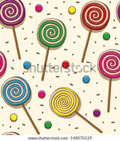 Candy seamless patteren 01, vector - stock vector