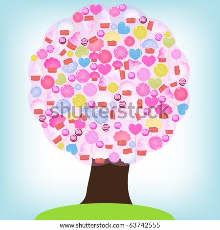 Candy tree - stock vector