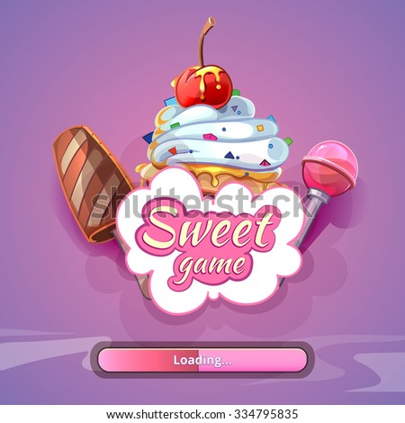 Candy world game background with title name. Sweet design art, fantastic lollipop, vector illustration - stock vector
