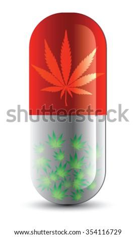 Cannabis as medicine, vector - stock vector
