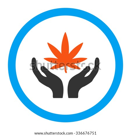 Cannabis Care vector icon. Style is flat rounded symbol, bright colors, rounded angles, white background. - stock vector