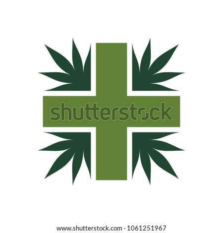 Cannabis Medical Logo Vector Marijuana Icon Stock Vector 1061251967