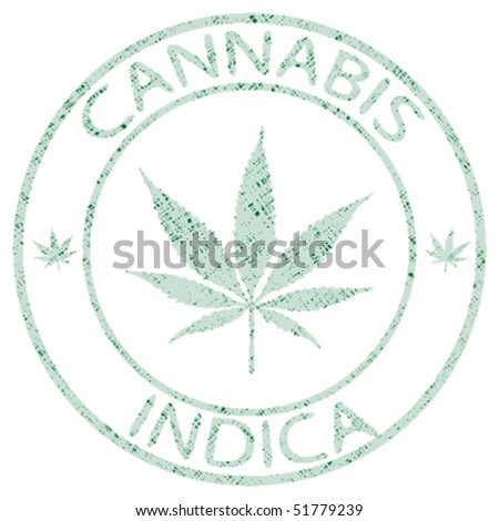 cannabis indica stamp isolated on white background, abstract vector art illustration - stock vector