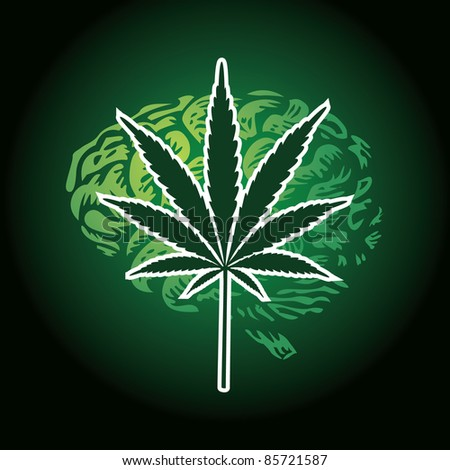 cannabis leaf and human brain background - illustration - stock vector