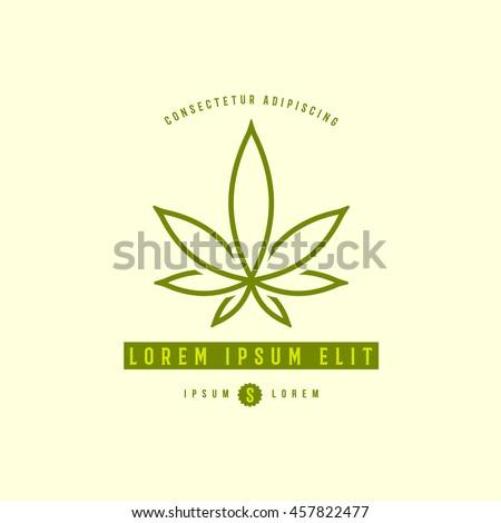 cannabis leaf emblem logo template
