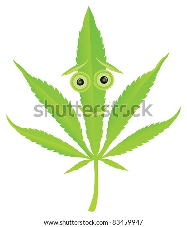 Cannabis leaf happy face character vector illustration - stock vector