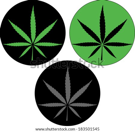 Cannabis leaf icon button vector - stock vector