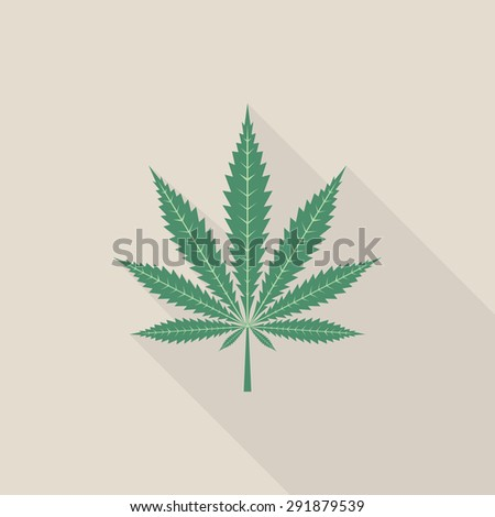 Cannabis leaf icon with long shadow, flat style - Vector - stock vector