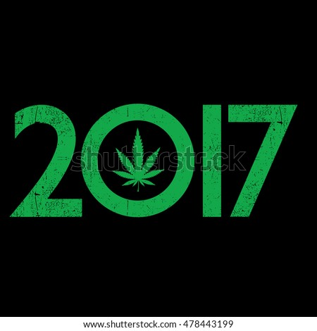 Cannabis leaf inside the 2017 year. Rastafarian New Year gift card with grunge. vector illustration
