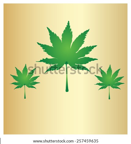 Cannabis leaf, marijuana leaf isolated on gold vintage background - stock vector