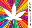 Cannabis leaf on abstract psychedelic background, vector, EPS10 - stock vector