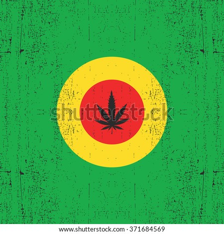 Cannabis leaf on circle rastafarian`s color. Grunge background. Rastafarian flag, vector illustration