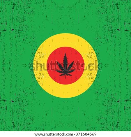 Cannabis leaf on circle rastafarian`s color. Grunge background. Rastafarian flag, vector illustration - stock vector