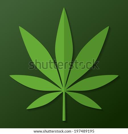 Cannabis leaf on dark green background - stock vector