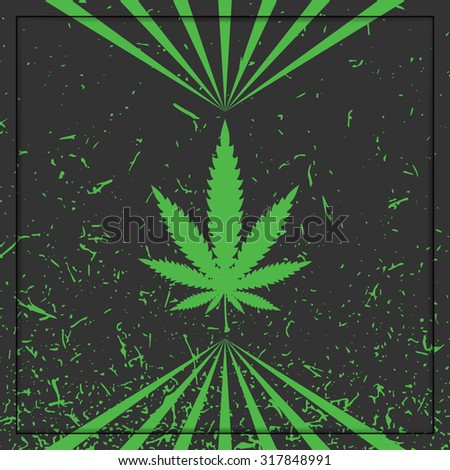 Cannabis leaf on grunge background. vector illustration - stock vector