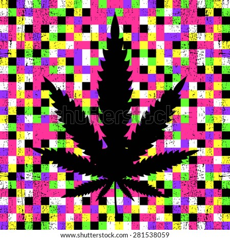 Cannabis leaf on grunge colorful pixel background. vector illustration - stock vector