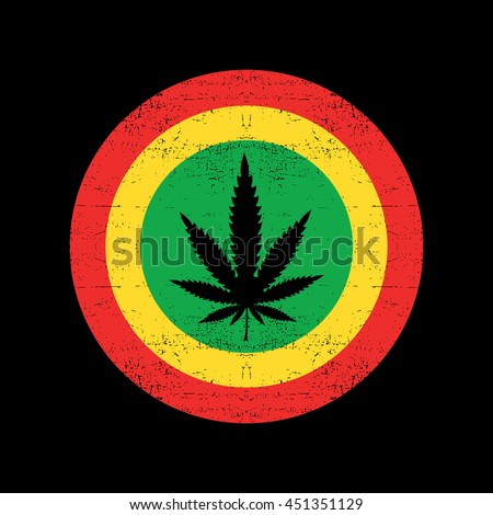 Cannabis leaf on grunge rastafarian background circle. Vector illustration