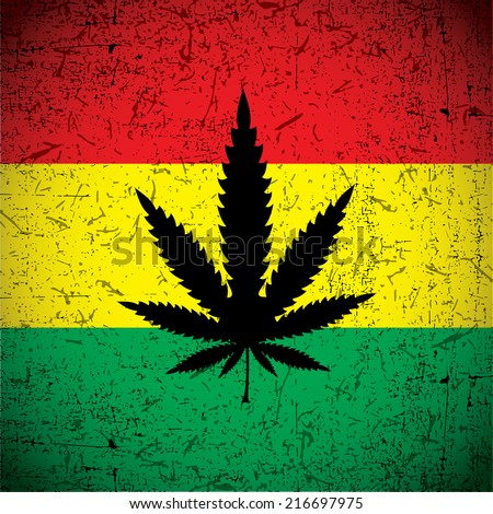 Cannabis leaf on grunge rastafarian flag. Vector illustration - stock vector