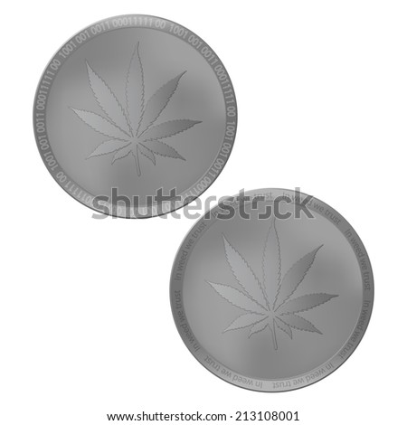 Cannabis leaf on silver coin - stock vector