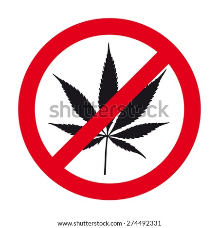 Cannabis leaf prohibited sign