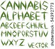 cannabis leafs alphabet against white background; abstract vector art illustration - stock photo